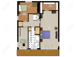 2d floor plan with bedrooms office bathroom and closet stock