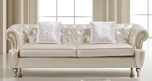 White Sofa Sets Leather Ludovik Crystal Tufted Leather Sofa Set
