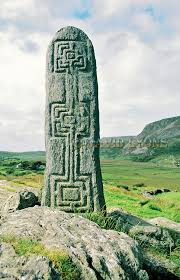 celtic christian stone carving in the valley of glencolumbkille