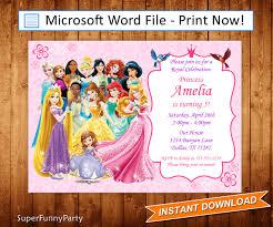Princess Birthday Invitation Card Disney Princess Invitation Disney Princess Birthday Invite