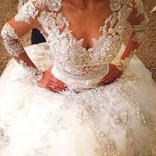 luxurious sheer neck bridal wedding dresses ball gown long