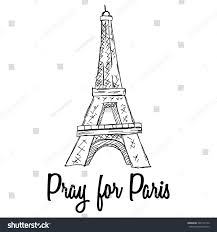 pray paris eiffel tower sketchy doodle stock vector 340119134