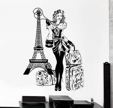 wall vinyl decal paris eiffel tower travel vacation