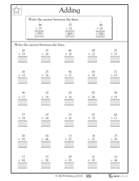 adding 2 digit numbers free math worksheet for grades 2 3