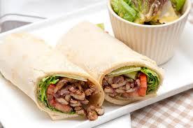 arab wrap kafta shawarma chicken pita wrap roll sandwich stock photo image