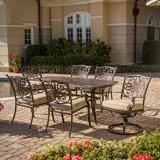 Patio Dining Set by Shop Hanover Outdoor Furniture Traditions 7 Piece Bronze Aluminum