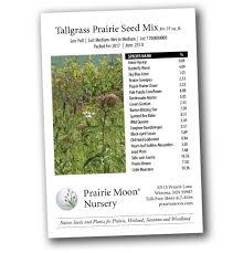tallgrass prairie seed mix for 25 sq ft prairie moon nursery