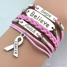 hand made bracelet images Fashion breast cancer bracelets believe faith hope leather jpg