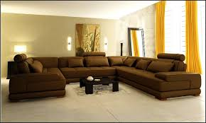 extra large leather sectional sofa with yellow curtains and marble
