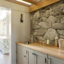 Stacked Stone Accent Wall Design Ideas - Layered stone backsplash