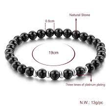 energy bead bracelet images Shiny surface finish black stone agate beads bracelet with silver jpg