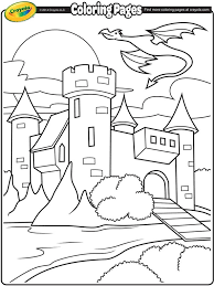 Castle With Dragon Flying Above On Crayola Com Coloring Pages Princess Stencil Free Coloring Sheets