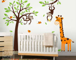 Jungle Wall Decal For Nursery Wall Decal Monkey Wall Decals For Nursery Monkey Wall