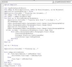 copy worksheet information to word using vba in microsoft excel