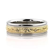 mens two tone wedding band men s two tone engraved wedding band in platinum 7 0mm