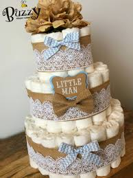 Baby Shower Centerpieces Boy by Little Man Diaper Cake Burlap And Baby Blue 3 Tier Diaper Cake