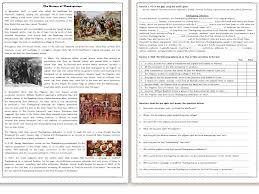 the history of thanksgiving reading comprehension worksheet text