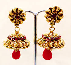 antique gold jhumka earrings bejewelled bazaar gold coated jhumka earrings with accent