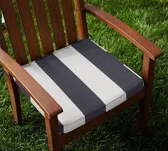 Patio Furniture Chair Cushions Sunbrella Piped Outdoor Dining Chair Cushion Stripe Pottery Barn