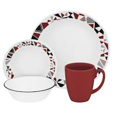 Corelle 76 Piece Dinnerware Set Livingware Mosaic Red 16 Pc Dinnerware Set Review Corelle Dinnerware