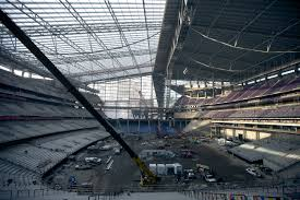 high tech roof is in place for winter at new vikings stadium