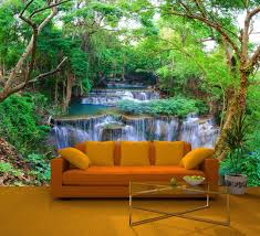 tree mural wallpapers group 30 green spring forest wall mural deco photo wallpaper waterfall