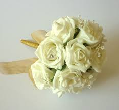 Bridesmaid Bouquets Gold And Ivory Crystal Brides Bouquet Artificial Bridesmaid