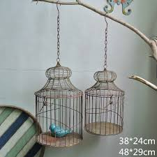 country retro flower garden wrought iron bird cage hanging