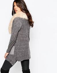 sweater with faux fur collar river island river island chunky cardigan with faux fur collar