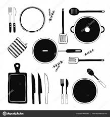 hand drawn kitchen utensils set kitchen tools collection cooking