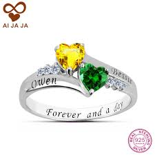 rings with birthstones aijaja 925 sterling silver personalized engagement rings