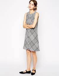 fred perry prince of wales pinafore dress in black lyst