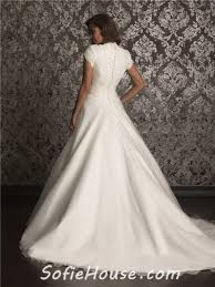 a line high neck chapel train organza lace simple wedding dress