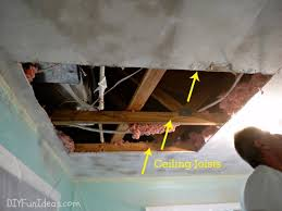 How To Sheetrock A Ceiling by How To Repair A Hole In Your Ceiling Drywall
