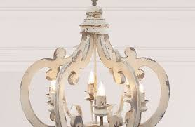 French Country Wooden Chandeliers White Distressed Chandelier Sara 6 Light Chandelier In Distressed