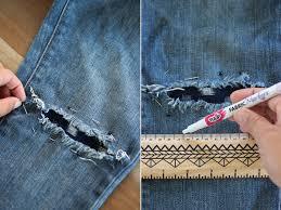 Used Jeans Clothing Line Diy Sashiko Denim Repair Boro