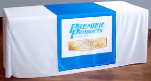 custom table runner personalize with logo for trade shows