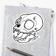small cat skull tattoo flash