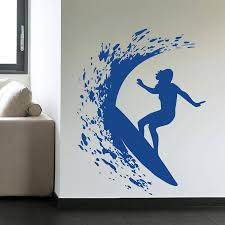 surfer wall sticker vinyl decal home decor wall art waves sea