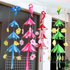kindergarten creative ornaments bamboo sieve plate diy corner