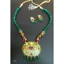 colour beads necklace images Green color pearl beaded necklace pendent jewelry set at rs 1800 jpg