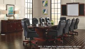 Conference Table With Chairs Cherry Expandable Traditional Conference Tables 8 U0027 Table See