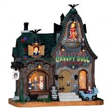 lemax spooky town creepy doll shop lemax spooky town illuminated building new for
