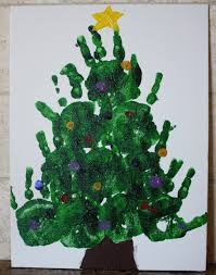 christmas handprint christmas tree artwork lights decoration