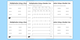 multiplication on a number line activity sheet pack year 2