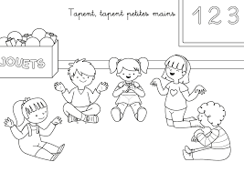 Coloriage comptine  Tapent tapent petites mains