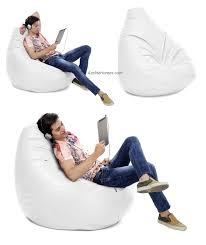 comfortable jumbo pear shaped bean bag chair in white color
