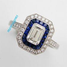 emerald shaped blue diamond engagement rings ebay
