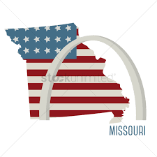 Misouri Flag Missouri State Map With St Louis Gateway Arch Vector Image