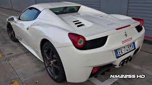 white 458 spider 458 spider start revs accelerations fly bys and